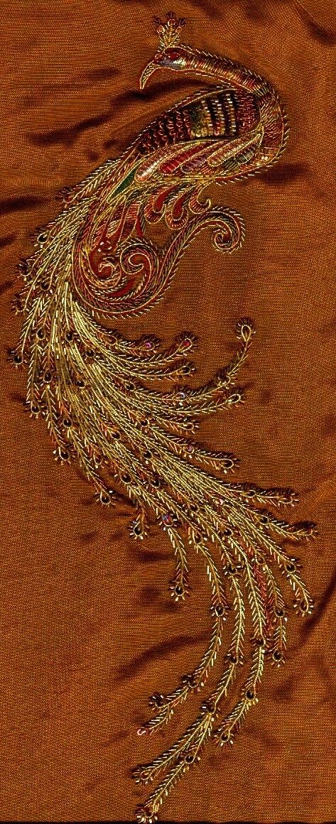 embroidery - peacock - metal threads, beads