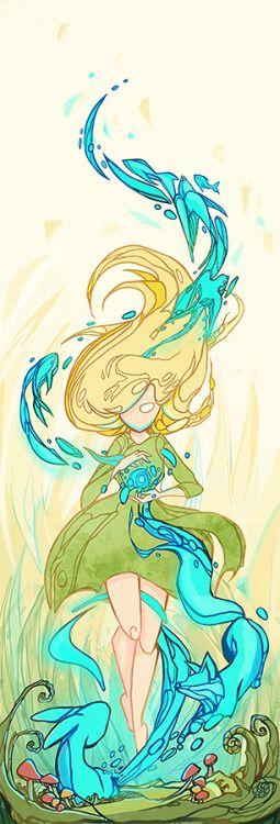 Magical girl summoning various wildlife.  Digital drawing by Sylvia Strijk