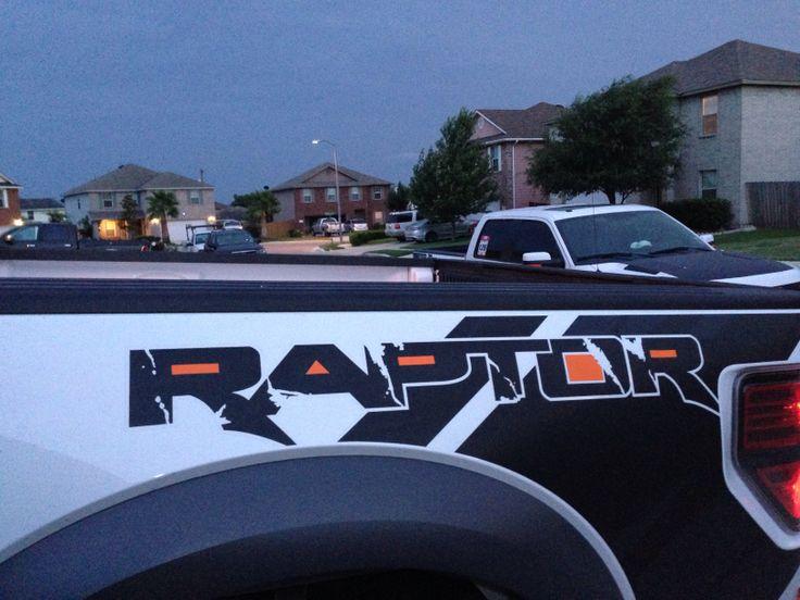 fierce orange arlon vinyl wrap accents  jovans white ford raptor monster logo raptor logo
