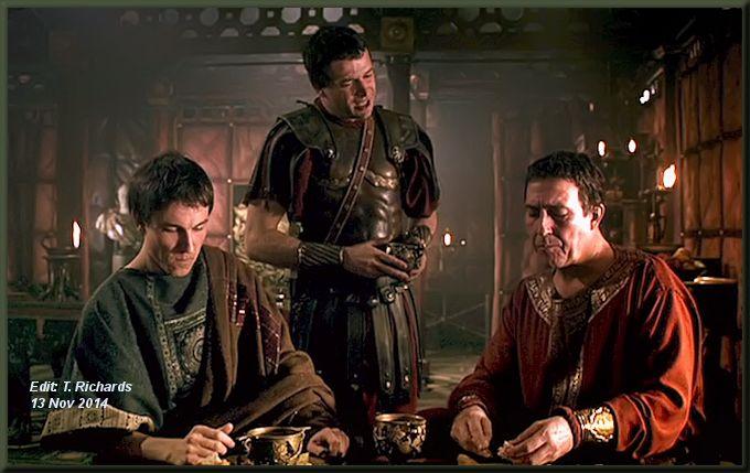"L-R: Tobias Menzes as ""Brutus"", James Purefoy as ""Antony"", Ciarán Hinds as ""Caesar"""