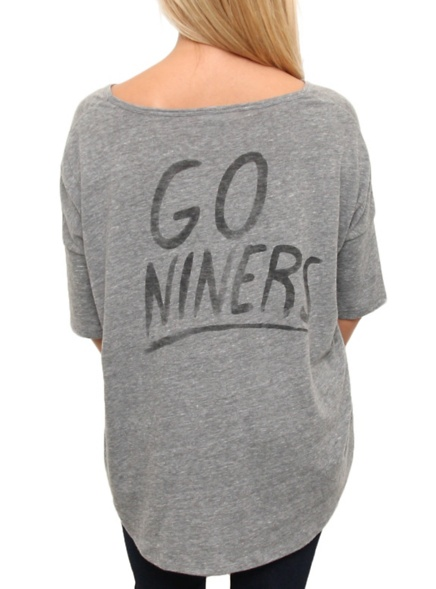 """New Junk Food NFL Collection!  San Francisco 49ers Game Day tee for women  with """"Go Niners!"""" back hit  $32  www.junkfoodclothing.com"""