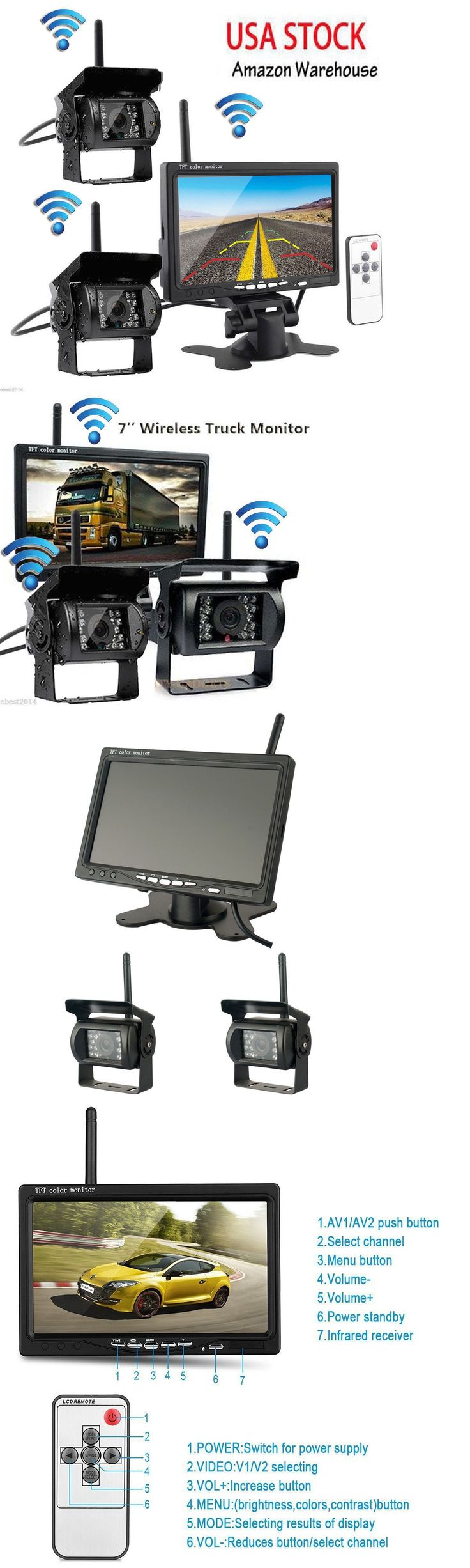 Rear View Monitors Cams and Kits: 2 X Wireless Rear View Backup Camera Night Vision + 7 Monitor For Rv Truck Bus BUY IT NOW ONLY: $107.85