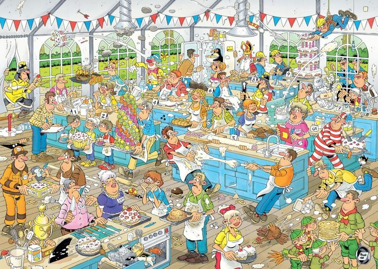 Completed.      Clash of the Bakers -  by Jan Van Haasteren - 1000 pcs - 27 x 20 - Ceaco Jigsaw Puzzle