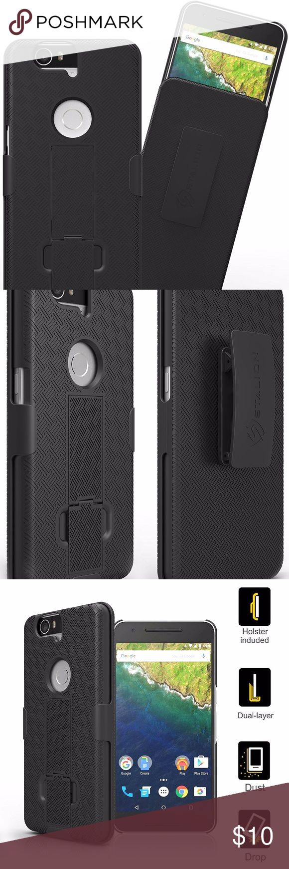 Nexus 6P Case Nexus 6P Case: Stalion Secure Shell & Belt Clip Holster Combo with Kickstand for Huawei Google Nexus 6P (Jet Black) 180° Rotating Locking Swivel  box #1 Accessories Phone Cases