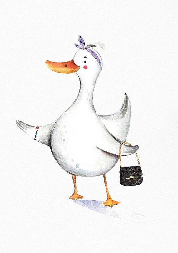 Stylish duck loves shopping. She likes to wear modern expensive and luxury things. ---PRINTING---  Quality prints made on thick, durable, archival, acid-free matte paper (basis weight 192 gsm) using Epson UltraChrome water based HDR ink-jet technology.  ---SIZE---  8 x 10 = 20.32 x 25.40 cm 12 x 16 = 30.48 x 40.64 cm 12 x 18 = 30.48 x 45.72 cm 16 x 20 = 40.64 x 50.80 cm  ---COPIRYGHTS---  Copyright © by DearAnnArt. All rights reserved.