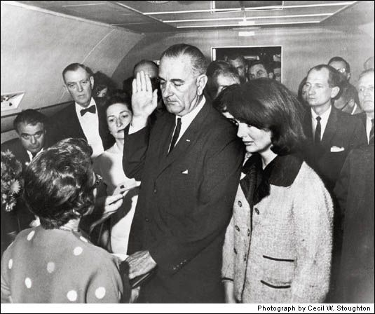 Johnson Is Sworn In 1963~ President John F. Kennedy had been assassinated, and the speed with which this ceremony was arranged—and the photo released—was purposeful. Johnson and his advisers wanted to assure a shocked nation that the government was stable, the situation under control.