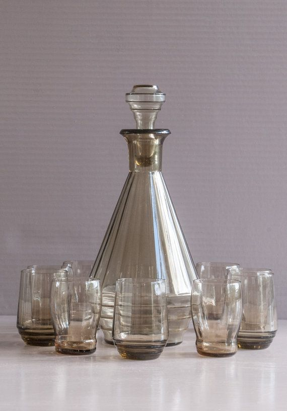 Art Deco Decanter French Decanter with 10 by SoFrenchBrocante