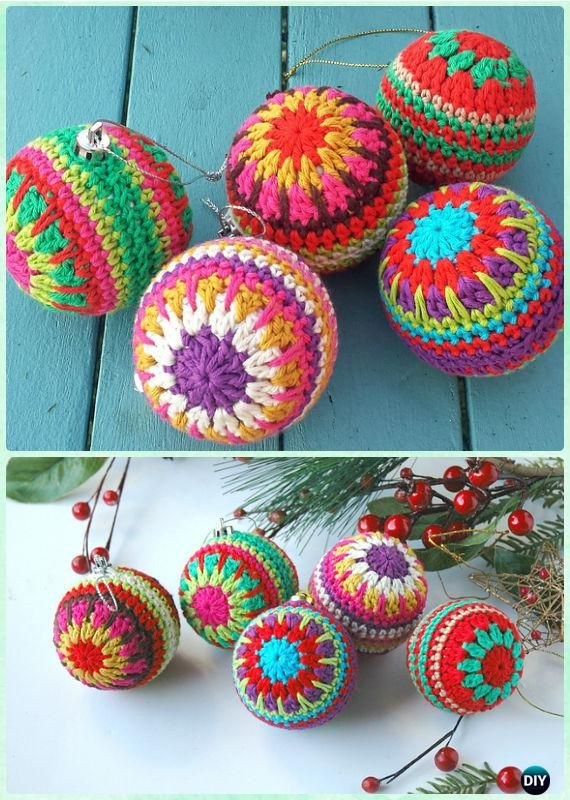 DIY Decorative Crochet Bauble Ornament Free Pattern - Crochet Christmas Ornament Free Patterns
