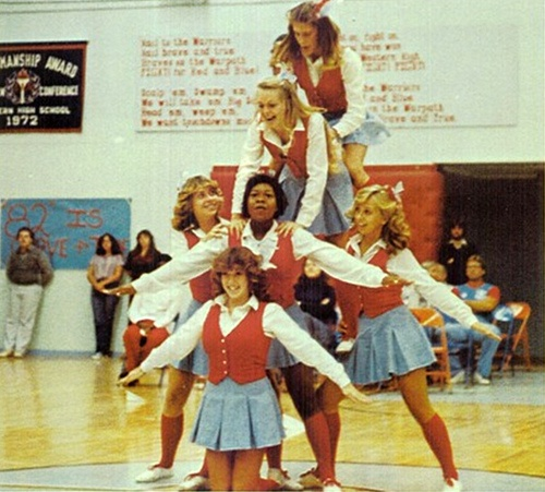 70s Cheerleading pyramid and awesome uniforms! Watch the documentary 'The Truth Behind The Pompoms' - trailer on www.cheercoach.net