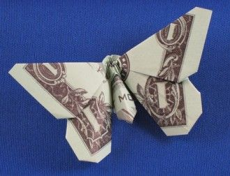 Dollar bill butterfly origami