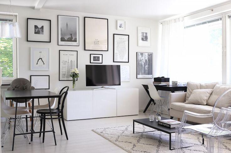 Homevialaura   living room   gallery wall   Ellos Tanger carpet   Eames DSR   TON Chair 14   BoConcept Lugo coffee table   Ikea Bestå