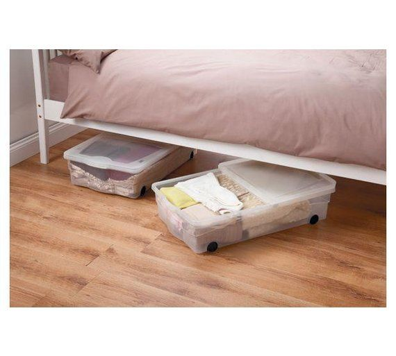 Buy HOME 50 Litre Wheeled Plastic Underbed Storage Box with Lid at Argos.co.uk, visit Argos.co.uk to shop online for Plastic storage boxes and units, Storage, Home and garden