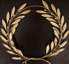 Bronze olive tree leaf branch wreath wall sculpture - Greek bronze wall art