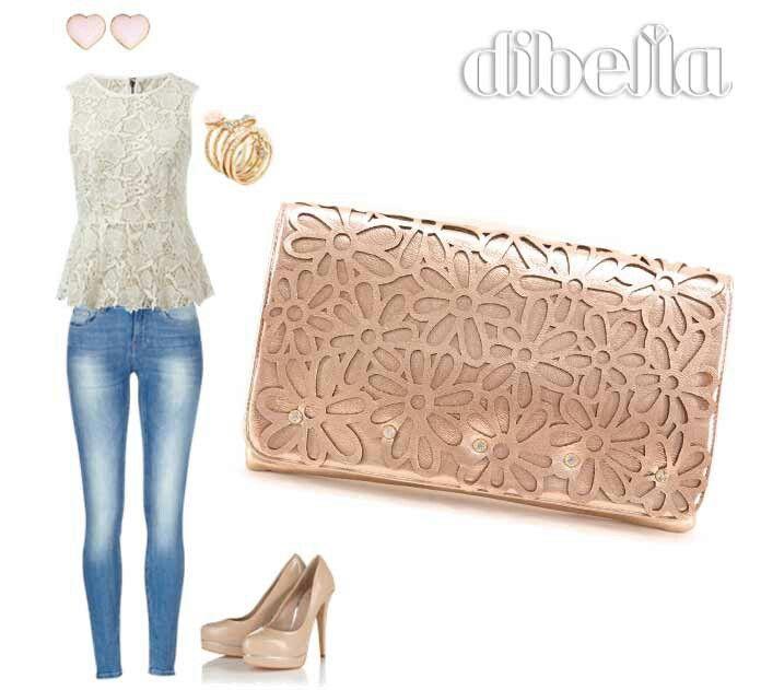 Look delicado. Bolsa certeira de flores cortada a laser. Bolsa rosa. #lojadibella #bolsafeminina #clutch #mods #look www.lojadibella.com.br