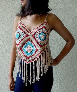 Sweet Nothings Crochet GRANNY SQUARE BOHO / BEACH TOP