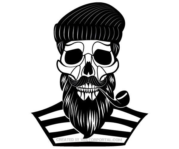 Old Sailor Skull Vector Image