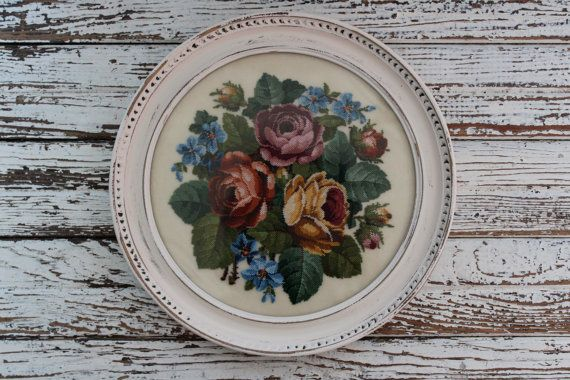 Reserved for Ebru.....Beautiful Vintage Petit Point Shabby Chic Rose Needlepoint Picture