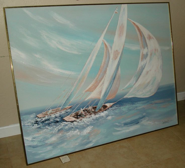 Lee Reynolds Hand Painted Acrylic Painting On Canvas Signed 48x60 Yacht Race Acrylic