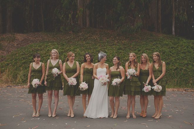 love the moss green bridesmaids dresses   pale pink bouqets