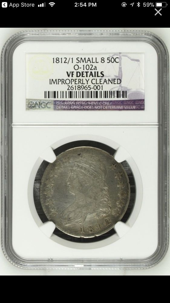1812/1 Capped Bust Half Dollar 50C O-102a - NGC Certified - VF Details