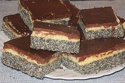 Mohnkuchen mit Vanillecreme und Schoko