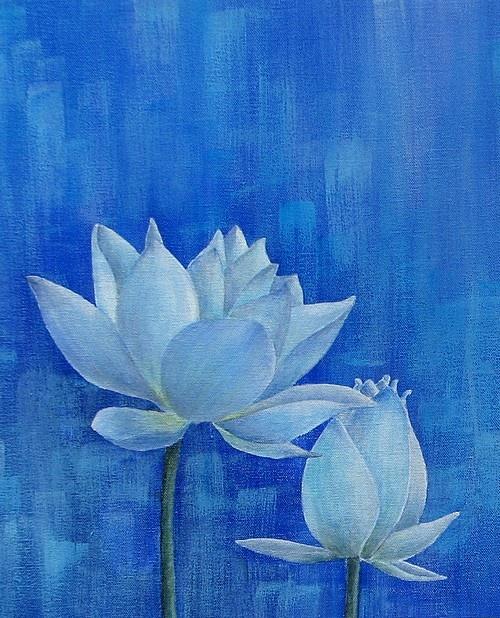 blue lotus painting