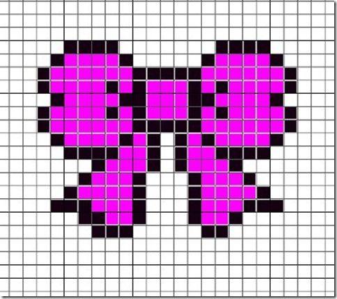 Hama, Perler. Beads, Pattern, Design, Creation, Kawaii, Cute, Ribbon, Bow,