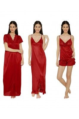 Let your feminine grace comes out as you wear this red nighty for womens - Pack Of 4 #womenfashion #onlinenightwear #nightiesonline #satinnightwear #womennightwear #nightwearonline Shop here-  https://trendybharat.com/offer-zone/offer-alert/independence-day-sale/red-nighty-for-womens---pack-of-4-kz-ash1041