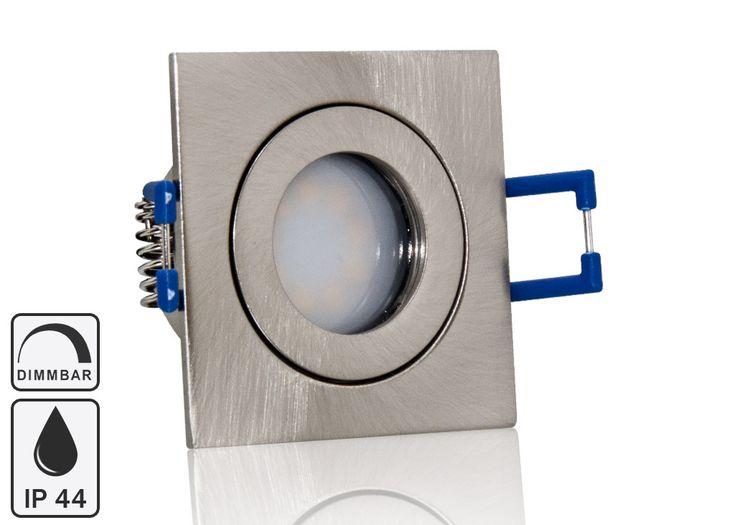 Feuchtraum LED Einbaustrahler Set IP44 MR11 35mm Druckguß gebürstet eckig mit Marken Flat LED Spot LC Light 3 Watt 230V Dimmbar