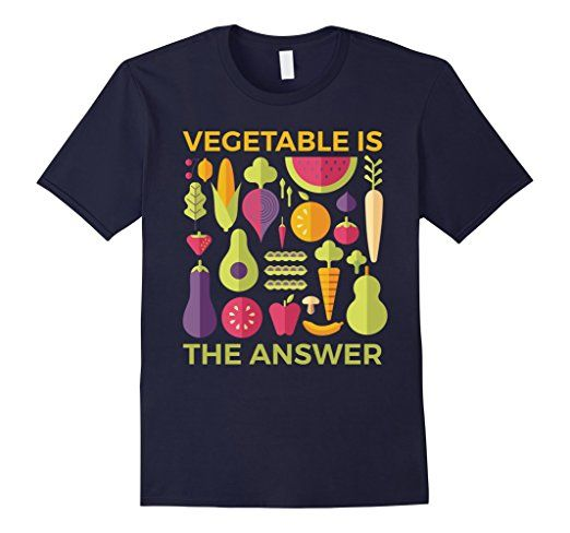 Men's Vegetable is The Answer Vegetarian Vegan Fruitarian T-Shirt 2XL Navy