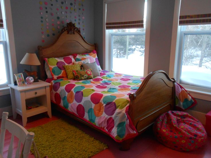 Tween room make over.  Duct tape added to plain white window blinds,