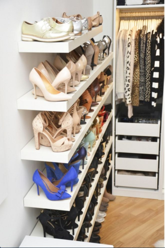 Good bye plastic, hanging shoe organizer; Hello built in shoe shelves by We Love It.