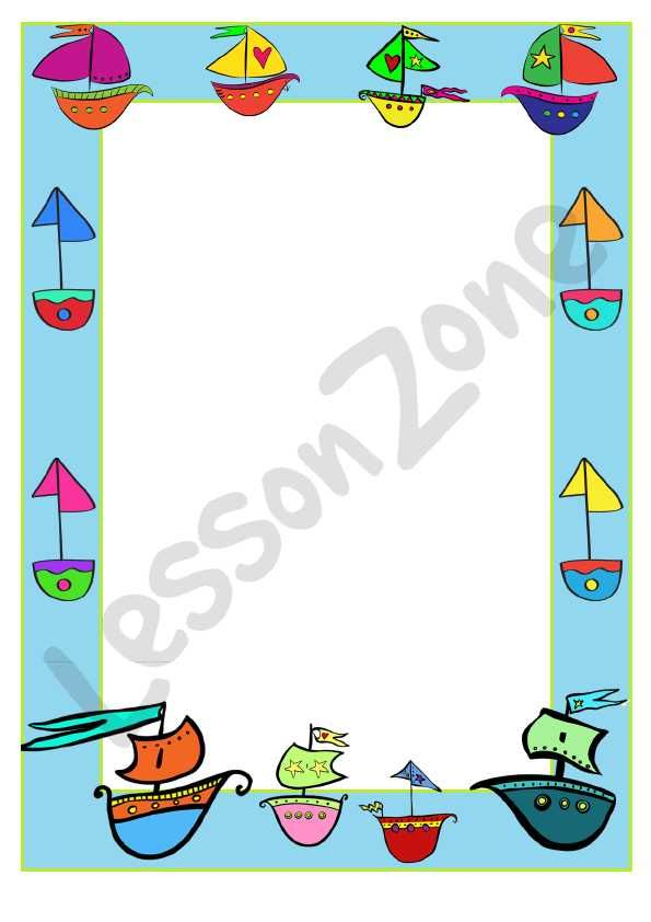 This Decorative Page Border, 'Sailboat' is a single page border that can be reproduced for classroom use.  To download, visit lessonzone.com.au
