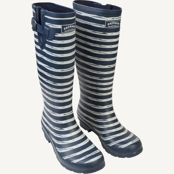 Striped Tall Wellies - perfect for puddle-splashing! #FatFace