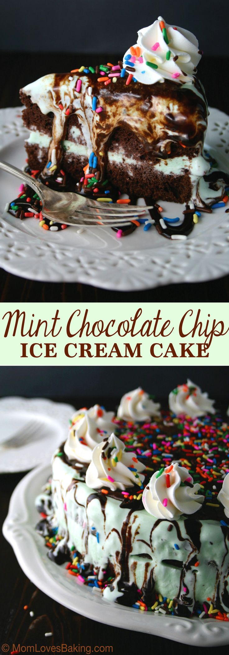 Mint Chocolate Chip Ice Cream Cake is a super easy, four layer cake topped with chocolate syrup and sprinkles. #SoHoppinGood #ad