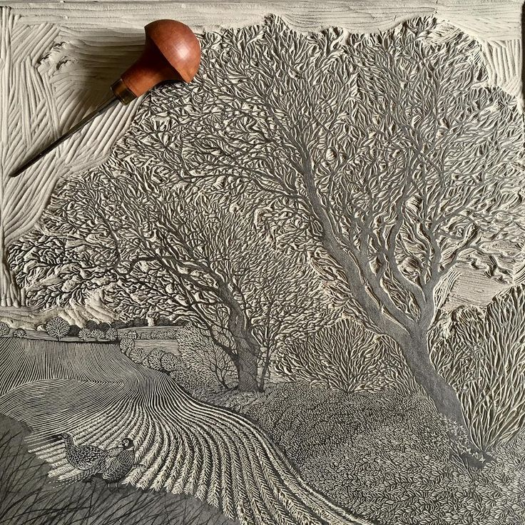 Linocut in progress by Vanessa Lubach Linocuts (@vanessalubach) on Instagram.
