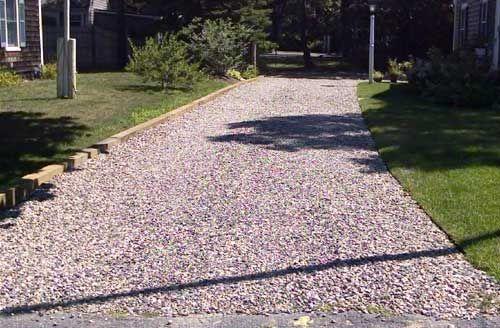 Landscape Timbers Driveway Edging : Crushed rock driveway timber border rocks brick masonry