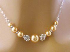 Gold Perlenkette, Strass Perlen Braut Halskette, Gold Brautjungfer Halskette, Gold Mutter der Braut Schmuck, Perlen Hochzeit Schmuck   – Κολιέ
