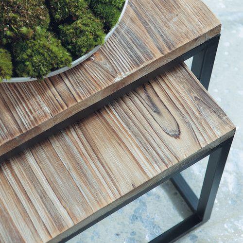 Tavolo stile industriale per sala da pranzo in massello di legno e metallo L 150 cm