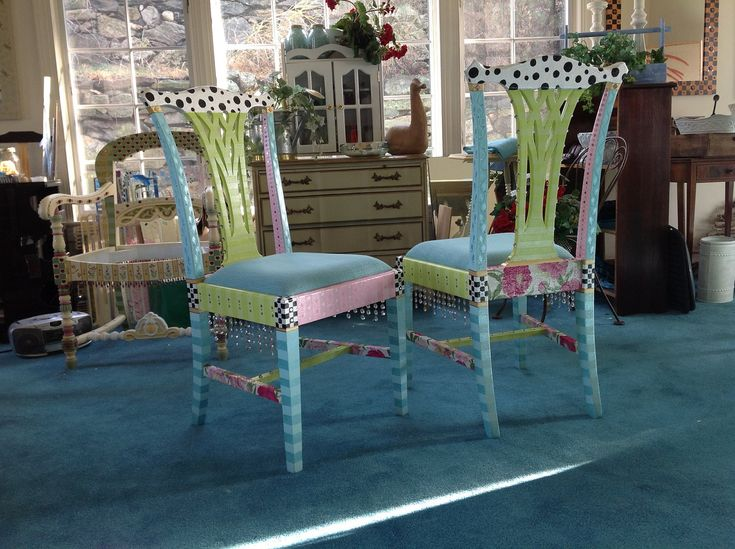 Whimsical Hand Painted Chairs RESERVED Custom por sharonmooradian