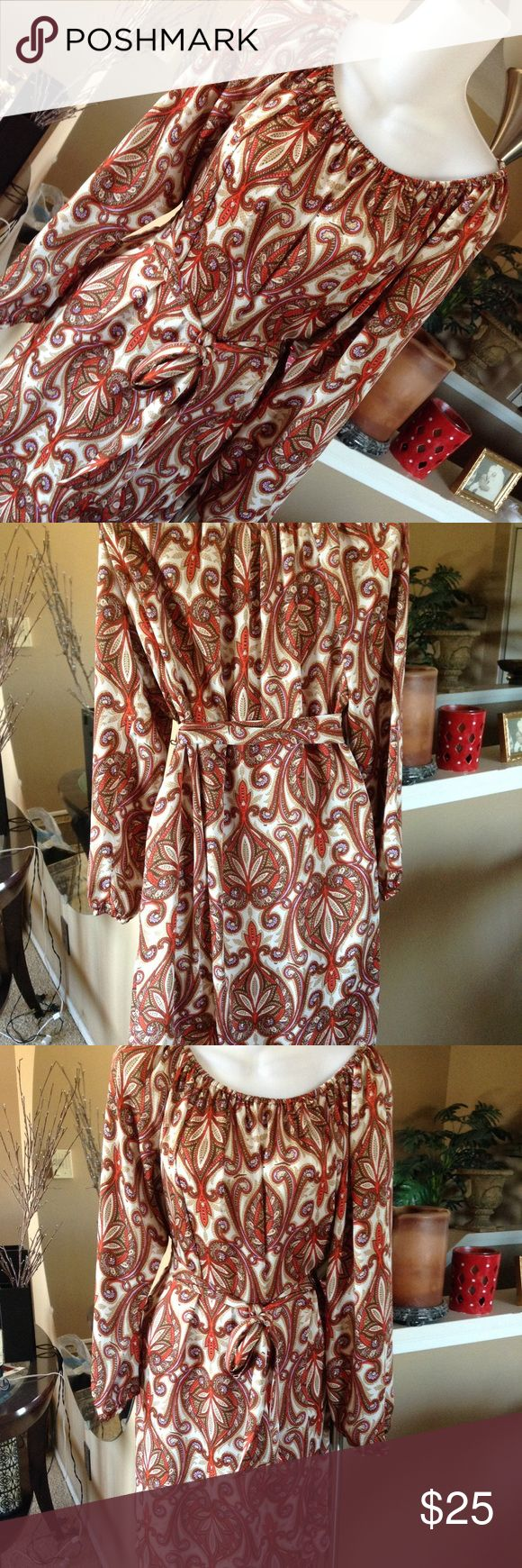Michael Kors Paisley Dress Gorgeous dress only worn once and dry cleaned. Falls at the knee. I wore with brown boots! Michael Kors Dresses Long Sleeve