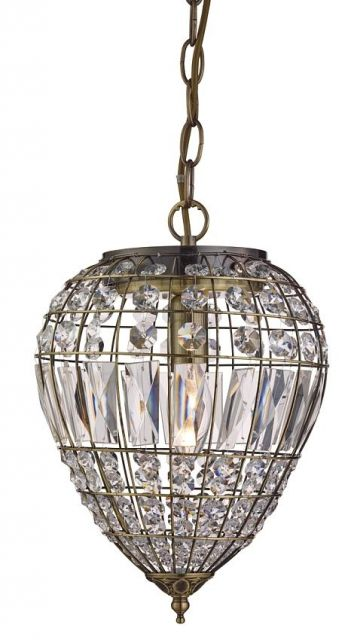 3991AB PENDANTS - závesné svietidlo - antická mosadz+krištáľ