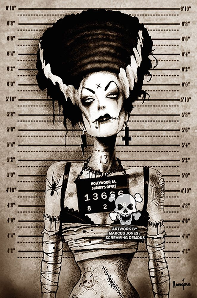 Title: Bride Mugshot Artist: Marcus Jones Screaming Demons Watermark will not be on image. Made-to-order canvas fine art reproductions on canvas featuring the original artwork of today's hottest tatto