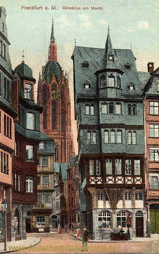 Frankfurt, old postcard before World War II, rebuilt in a modern style after suffering heavy bombing damage