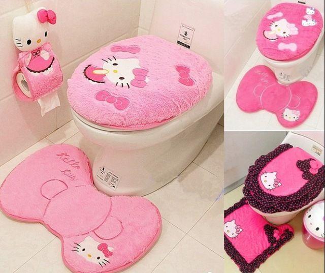 2015 NEUE Hallo Kitty Bad Sanitär Sitzen Wc Sitzkissen ring + Bodenmatte + Closes Abdeckung + Tissue halter 4 STÜCKE