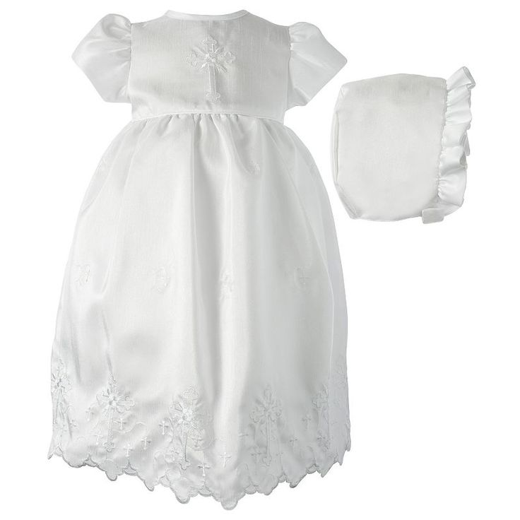 American Originals Cross Shantung Christening Dress - Baby Girl, Size: 0-3 Months, White