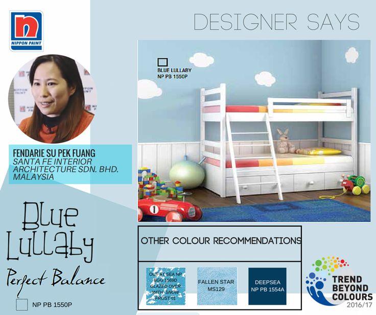 Jika Anda ingin menciptakan suasana nyaman dan santai untuk kamar Anak, Anda dapat menggunakan warna Blue Lullaby NP PB 1550P. Dipadukan dengan beberapa warna seperti hijau dan abu-abu, kombinasi warna yang diperuntukkan bagi semua gender ini dapat membuat tempat yang nyaman untuk anak Anda. Desainer Fendarie Su akan menunjukkan kombinasi warna yang pas untuk ruangan anak Anda.