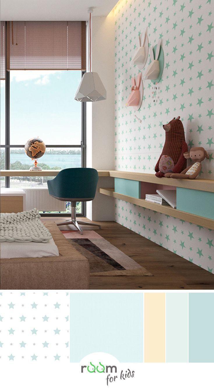 Ein Jugendzimmer Fur Madchen In Frischen Farben Gestaltet Jugendzimmer Zimmer Kinderzimmer Tapete