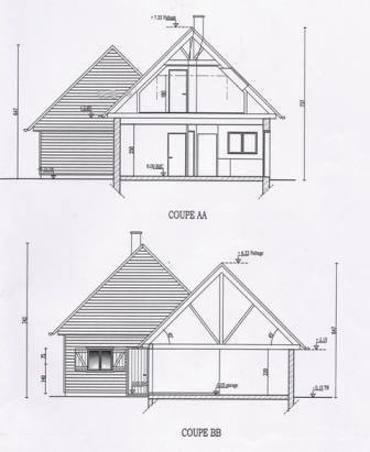 Plan de coupe de la maison de permis de construire