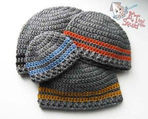 Free crochet pattern: Two Stripe Beanie in 6 sizes from newborn through adult by KT and the Squid